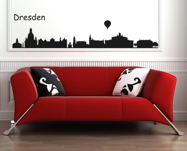 skyline dresden wandtattoo. Black Bedroom Furniture Sets. Home Design Ideas