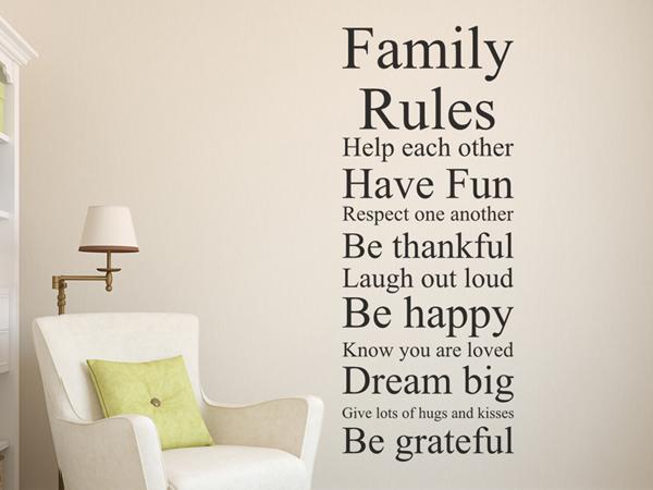 Family rules familien regeln wandtattoo - Wandtattoo family ...