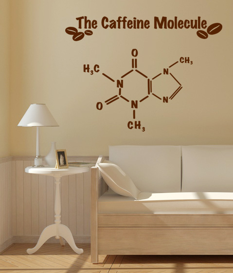 caffeine molecule m wandtattoo. Black Bedroom Furniture Sets. Home Design Ideas