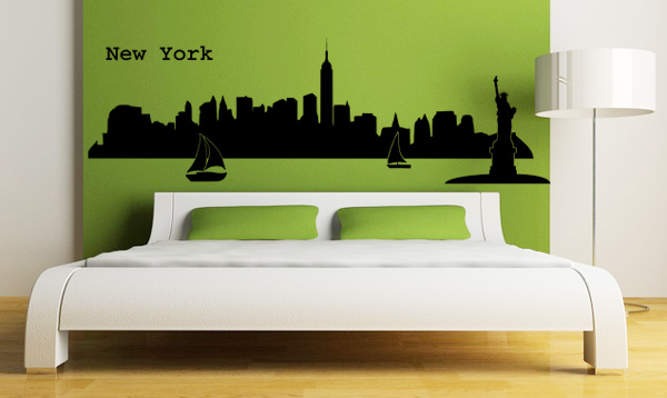 skyline new york l wandtattoo. Black Bedroom Furniture Sets. Home Design Ideas