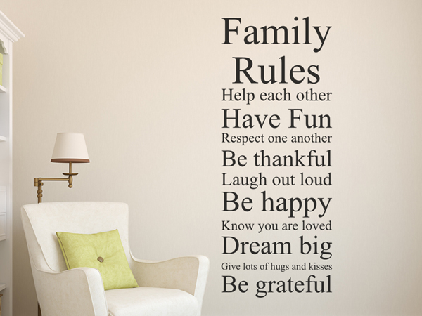 Family rules familien regeln m wandtattoo - Wandtattoo family ...